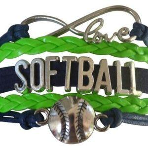 Girls Softball Bracelet - Navy & Green
